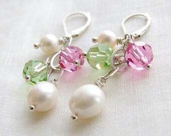 Pink Green Dangle Earrings Swarovski Crystal Jewelry Freshwater Pearl Sterling Silver Green Pink Bridesmaid Earrings Wedding Jewelry