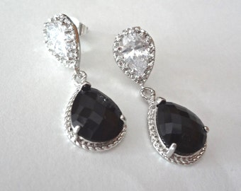 Black and Silver earrings - Sterling Silver - Teardrops - Bridesmaids - Cubic Zirconias - Bridal Jewelry - Classic -