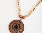 Woodburned Sunflower and Citrine Crystal Necklace.