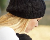 Hand knit autumn winter beret - black hat rustic