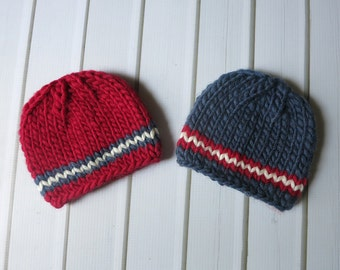 Newborn Patriotic Red White and Blue Chunky Wool Knit Beanies  - Boy Twin Set - Ready to Ship Photography Prop, RTS Photo Prop