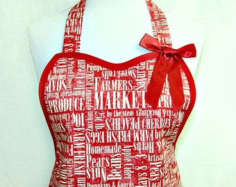 Apron, FARMERS MARKET in RED & Ivory, Fun Retro Pretty Party Hostess Unique Kitchen Gift