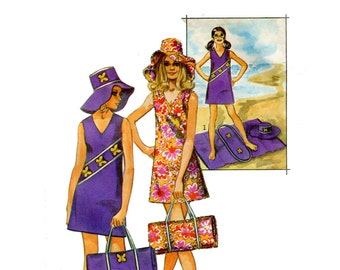 1970's Beach Dress Hat and Mat Pattern Floppy Hat Mini Shift Dress Fold Up Blanket Simplicity 8839 Bust 34 36 Vintage Sewing Pattern