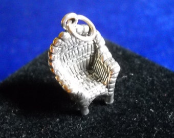 Sterling Wicker Porch Chair Pendant, Sterling Silver Charm, Porch Chair