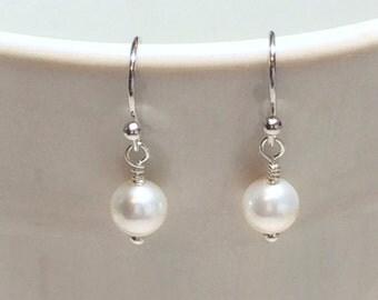 Pearl Earrings Stocking Stuffer Christmas Gifts Wedding Jewelry Bridesmaid Earrings Dangle Earrings Gift For Her