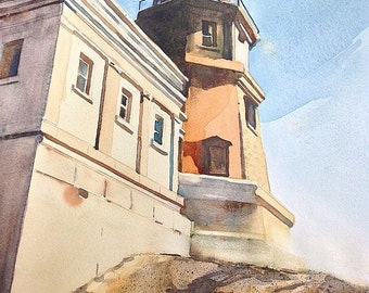 Minnesota Northshore Split Rock lighthouse  fine art Print of Watercolor painting size 12 x 16