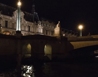 Paris Bridge Photo, City Lights, Seine River, Night Photography, Architecture Art, Paris Lights, Black and Gold Decor, Paris At Night