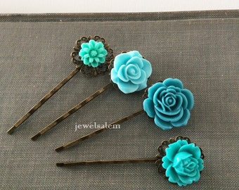 Turquoise Wedding Floral Hair Pins Aqua Blue Flower Hair Clips Vintage Style Bridal Bobby Pin Set of 4 Bridesmaids Flower Girls Quaint Chic