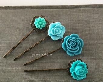 Turquoise Wedding Floral Hair Pins Aqua Blue Flower Hair Clips Vintage Style Bridal Bobby Pin Set of 4 Bridesmaids Flower Girls Quaint Chic