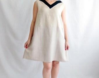 Beige linen tunic dress, linen tunic, boho dress, mini dress, maternity, ecru dress, sleeveless dress, knee length dress, womens clothing