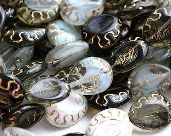 Grey beads mix, czech glass, oval beads, Golden inlays, teardrop shape, pear - 17x14mm - 8pc - 1975