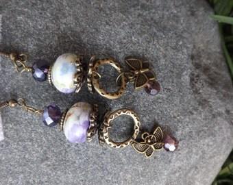 Elegant Bronze and Purple Butterfly Dangle Earrings