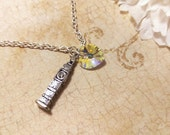 The London- Big Ben Clock Tower Charm and Swarovski Aurora Borealis Crystal Heart Sterling Necklace