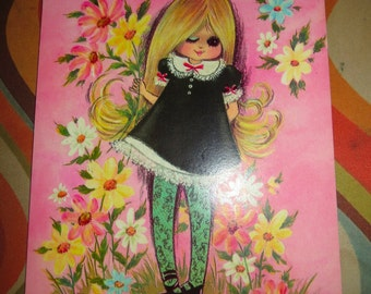 Vintage 1970s Retro MOD Groovy Pink Girl Eyelashes Flowers Congratulations Card