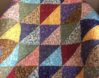 "Half-square Triangles Are Set To Shine In This 37"" X 37"" Multi-colored Quilt"