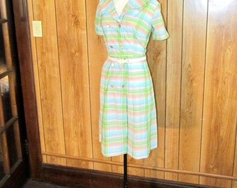 On Sale-1940's PLAID Cotton Day Dress