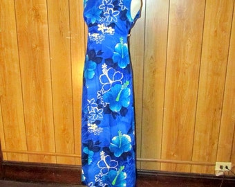 Beautiful Blue HAWAIIAN MAXI Dress