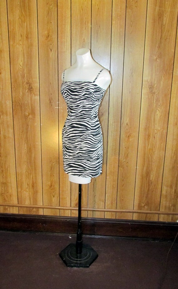 On Sale- Sexy Vintage LaBelle ZEBRA Print Fitted MINI Dress