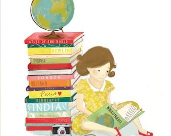 "A World of Books (8 x 10"" mounted print)"