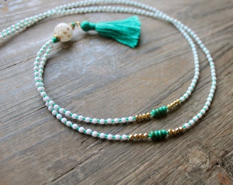 Tassel Necklace Teal Turquoise / Gold / White, Long Boho Layering Necklace, Mixed Media