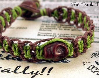 Lime Green Brown Skull Hemp Bracelet, Macrame Bracelet, Skull Bracelet, Hippie Bracelet, Festival Jewelry, Hemp Jewelry, Skull Jewelry