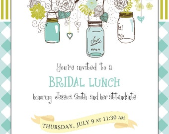 Bridal Lunch Invitation - Jars and Flowers