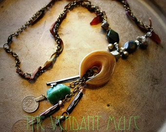 Long Layering Necklace- Artemis- Horn Crescent Raw Serpentine Pyrite Druzy Talhakimt Boho Festival