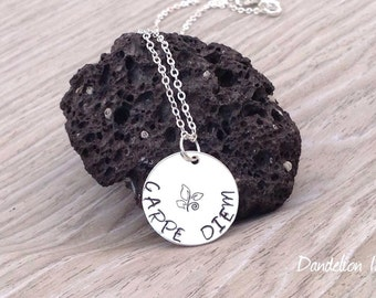 Carpe Diem, Sterling Silver HandStamped Circle Pendant Necklace, Seize the Day, Inspirational Quote