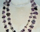 Vintage AMETHYST, ROSE QUARTZ Gemstone Chip Necklace, All Natural Polished Stones 32 L, Screw Type Metal Clasp, Exc Condition, Free Shipping