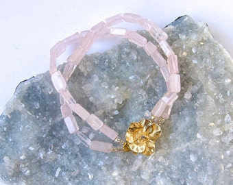 Pale Pink Rose Quartz with Gold Vintage Floral Clasp- Classic-Bracelet-Summer Colors