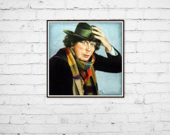 """Art Print 8""""x8"""", Doctor Who Fourth colored pencil scarf"""