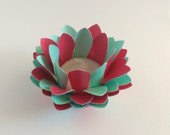 Handmade Paper Lotus Lamp - Turquoise and Red - Tealight holder - Paper Lotus Flower - Waterlily - 3d Paper Art - Home Essentials