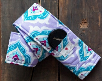 DSLR Camera Strap Cover with lens cap pocket and padding- Lilac Fields