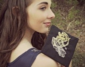 Small Pouch, Artemis the Archer Pouch for Personal Items or Chargers in Black and Yellow, aka, Diana