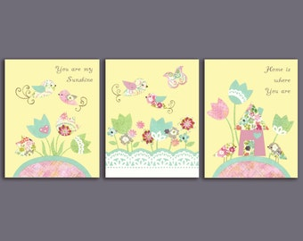 NURSERY ART SETS, You are my Sunshine, set of 3, yellow butterflies, little girls room, floral bedding, 8x10 prints, Spring kids decor