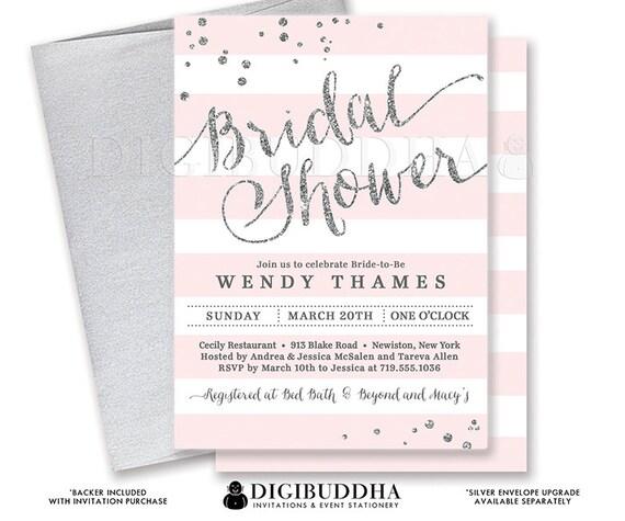 Blush silver bridal shower invitation stripes printable invite il570xn filmwisefo