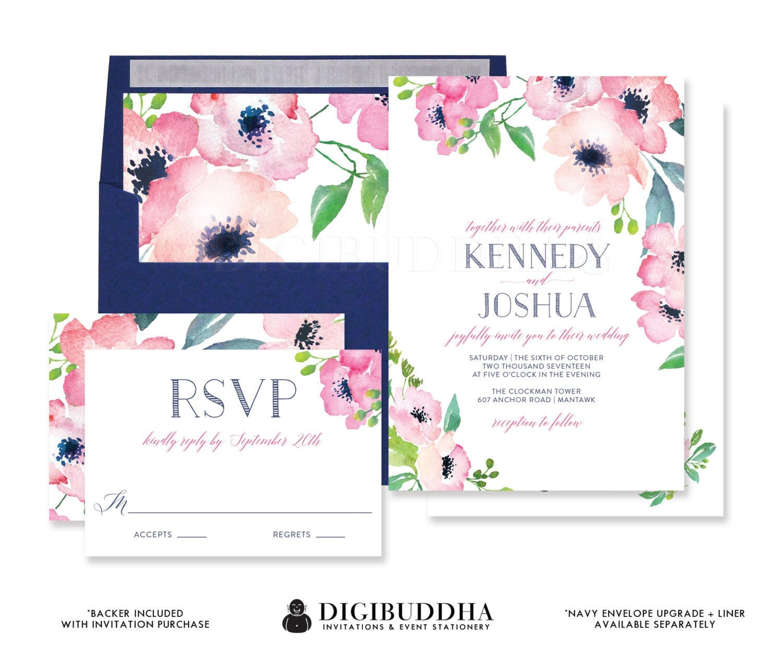 FUCHSIA & NAVY WATERCOLOR Flowers Wedding Invitation And RSvP