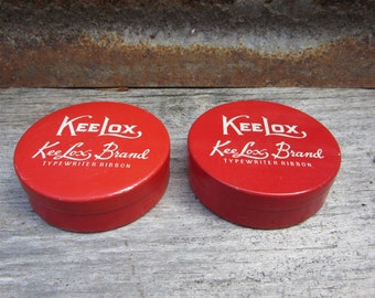 Collection of 2 Vintage Typewriter Ribbon Tins Empty Metal Cans 1950s-1960s Era KeeLox Typing Ribbon Decorative Collectible Red White Yellow