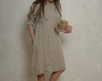 LINEN DRESS with drop shoulder