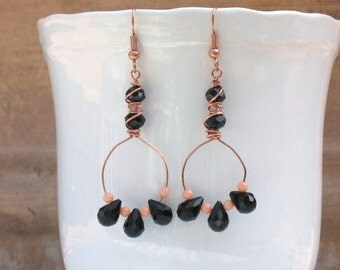 Copper, coral and black circle earrings