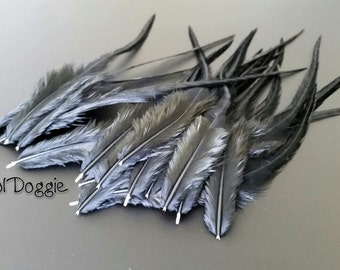 Black Feathers for Crafts Feather Hair Supplies Black Craft Feathers for Jewelry Qty15