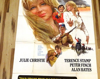 """Far from the Madding Crowd. Original 1963 US 41""""x81"""" 3-sheet Movie Poster. Beautiful Julie Christie art,Terence Stamp,Peter Finch,Alan Bates"""