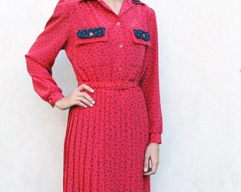 """Vintage 80's pleated dress, small/medium - hot pink and black . . . . . """"Like"""" our fb page for 10% discount"""
