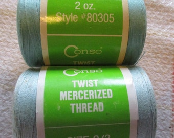 Vintage Sewing Thread Mercerized Cotton Aqua and Lt. Turquoise  large spools Size 0/3 Machine and Hand Sew lot of 2 New