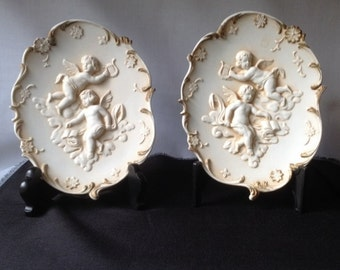 Pair of Two Vintage Lefton Bisque Plaques Made in Japan