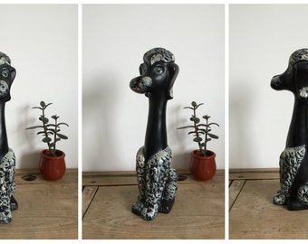 1950s Long Neck black Poodle Dog figurine kitsch retro ornament