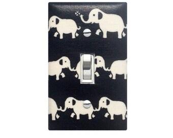 Elephant Nursery Decor / Black and White Light Switch Plate Cover / Gender Neutral Baby Girl Modern Switchplate / Japanese Kawaii