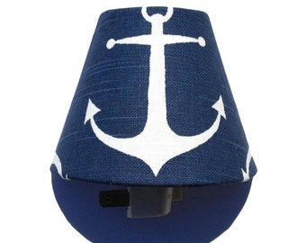 Anchor Night Light / Nautical Baby Girl Boy Nursery Decor / Navy Blue White Kids Room Bathroom Bedroom / Premier Prints SLUB