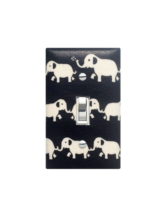 Elephant Nursery Decor / Black and White Light Switch Plate Cover / Gender Neutral Baby Girl Modern Switchplate / Japanese Kawaii