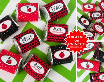 Ladybug Miniature Candy Bar Wraps - Chocolate Bar Wraps - Ladybug Candy Labels - Ladybug Party Favors - DIgital & Printed